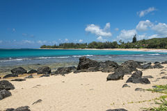 Waves on Hawaii beach panorama. On windy day Royalty Free Stock Photo