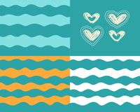 Waves and hearts on turquoise background vector illustration