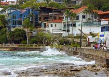 Waves hitting the rocks in Manly beach, Sydney Stock Photography