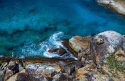Waves hitting the rocks. Stock Photography