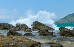 Waves hitting the rocky shore Royalty Free Stock Image