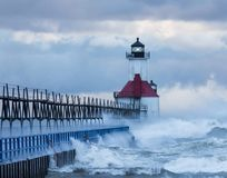 Waves hitting the St. Joseph lighthouse Stock Photo