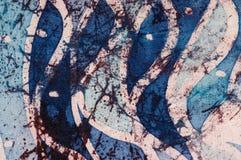 Waves, hot batik, background texture, handmade on silk, abstract surrealism art stock images