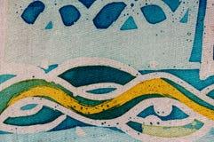 Waves, hot batik, background texture, handmade on silk, abstract surrealism art stock photography