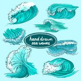 Waves icons set colored Stock Photos