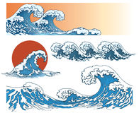 Waves in japanese style. Sea wave, ocean wave splash, storm wave. Vector illustration Royalty Free Stock Photos