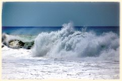Waves of Keramas Beach Stock Photos