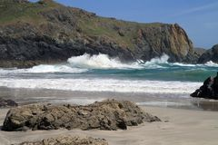 Waves at Kynance Cove in Cornwall Royalty Free Stock Photo