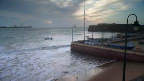 Waves at La Caleta Beach Cadiz Spain stock footage