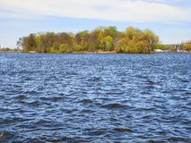Waves on lake in fine spring weather Royalty Free Stock Images
