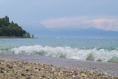 Waves on lake Garda. Lake Garda is the biggest lake in Italy Royalty Free Stock Photography