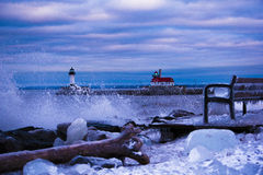 Waves on Lake Superior by lighthouse royalty free stock images