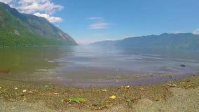 Waves on the lake Teletskoe stock video footage