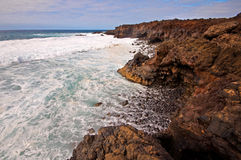 Waves on Lanzarote's volcanic coast Royalty Free Stock Images