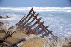 Waves Lashing Wreck Royalty Free Stock Images