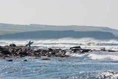 Waves at Lehinch and surfer Royalty Free Stock Image