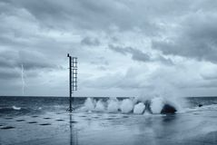 Waves and lightning Royalty Free Stock Images