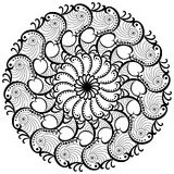Waves mandala round coloring page Royalty Free Stock Photo