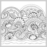 Waves with mandalas Stock Images