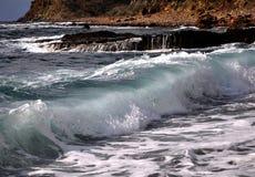 Waves in Mediterranean sea, Cyprus. Waves of the Mediterranean Sea - rocky coast Stock Image