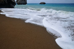 Waves in Mediterranean sea, Cyprus. Waves of the Mediterranean Sea - dark beach Royalty Free Stock Photography