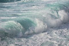 Waves in Milos beach Lefkada stock photography