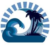 Waves, moon,  tropical island Royalty Free Stock Photos