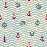 Waves nautical pattern. Seamless background pattern. Pattern in nautical style with a retro waves Royalty Free Stock Photos