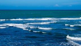 Waves near a beach | The Atlantic Ocean. Waves near a beach with a view of the Atlantic Ocean. From Puerto Plata in the Dominican Republic stock photo