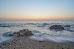 Waves before night Royalty Free Stock Photo