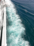 Waves in the ocean. Big waves on the side of the cruise ship in the Mediterranean sea Stock Photo