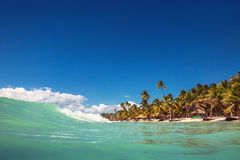 Waves on the ocean and caribbean wild beach, Punta Cana Stock Photo