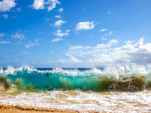 Maui waves. High waves of the famous Big Beach in summer, Makena State Park in Maui, Hawaii, United States royalty free stock photography