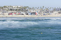 The Waves. The ocean's waves along the shore were enjoying by the swimmers and surfers Stock Image
