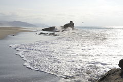 Waves in ocean and the sand. Royalty Free Stock Photo