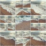 Waves Of Ocean On Sandy Beach. Background. Selective focus. Collage of many photos colorized instagram style Royalty Free Stock Images