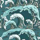 Waves of ocean seamless pattern Stock Photos