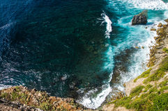 Waves in the ocean. Uluwatu Bali. The cliffs and the ocean near the Uluwatu Temple on Bali, Indonesia. waves crashing against the cliff Royalty Free Stock Images