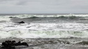 Waves Off Northern California Beach Overcast Day stock footage