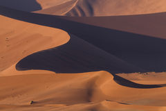 Waves of ornage dunes at Sossusvlei Royalty Free Stock Photo