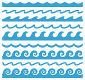 Waves ornament. Abstract curve design elements. Wave ornament. Vector seamless horizontal pattern. Abstract curve design elements. Set of blue marine icons royalty free illustration