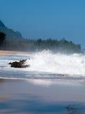 Waves over rocks on Lumahai Royalty Free Stock Image