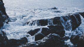 Waves over rocky shores