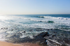 Waves Overlooking Ocean Swells Horizon. Waves overlooking crashing ocean swells water power landscape Royalty Free Stock Image