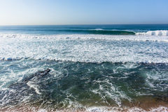 Waves Overlooking Ocean Swells Horizon. Waves overlooking crashing ocean swells water power landscape Royalty Free Stock Images