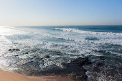 Waves Overlooking Ocean Swells Horizon. Waves overlooking crashing ocean swells water power landscape Royalty Free Stock Photo