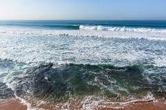 Waves Overlooking Ocean Swells Horizon. Waves overlooking crashing ocean swells water power landscape Stock Images
