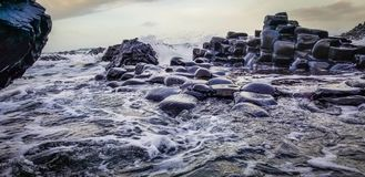 Waves Overtaking Magnificent Rocks stock photography
