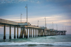 Waves in the Pacific Ocean and the pier at sunset, in Venice Bea. Ch, Los Angeles, California Stock Images