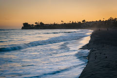 Waves in the Pacific Ocean at sunset, in Santa Barbara, Californ Royalty Free Stock Images